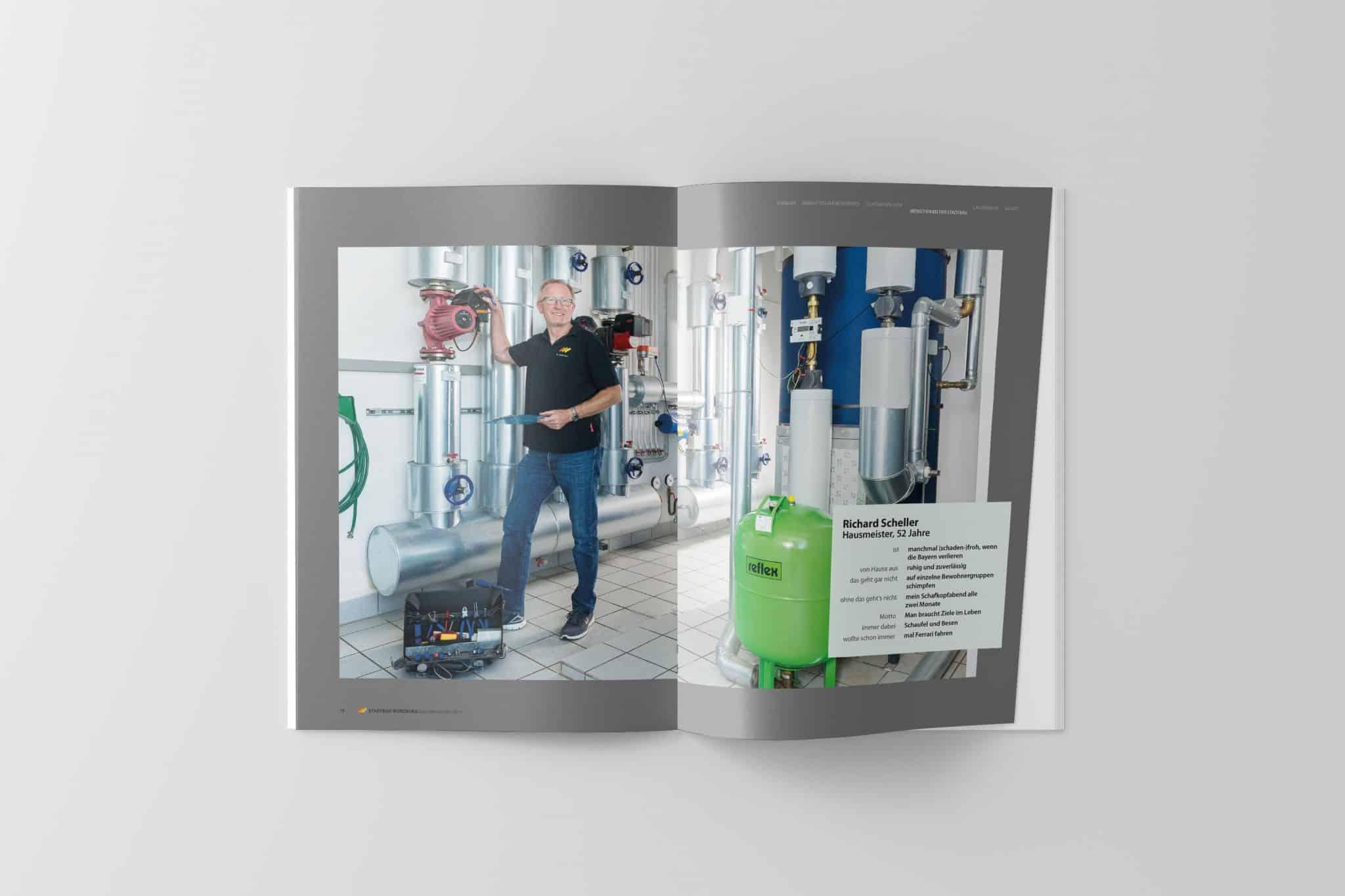 Doppelseite mit Porträt 03 Jahresbericht Stadtbau 2014 Design und Gestaltung