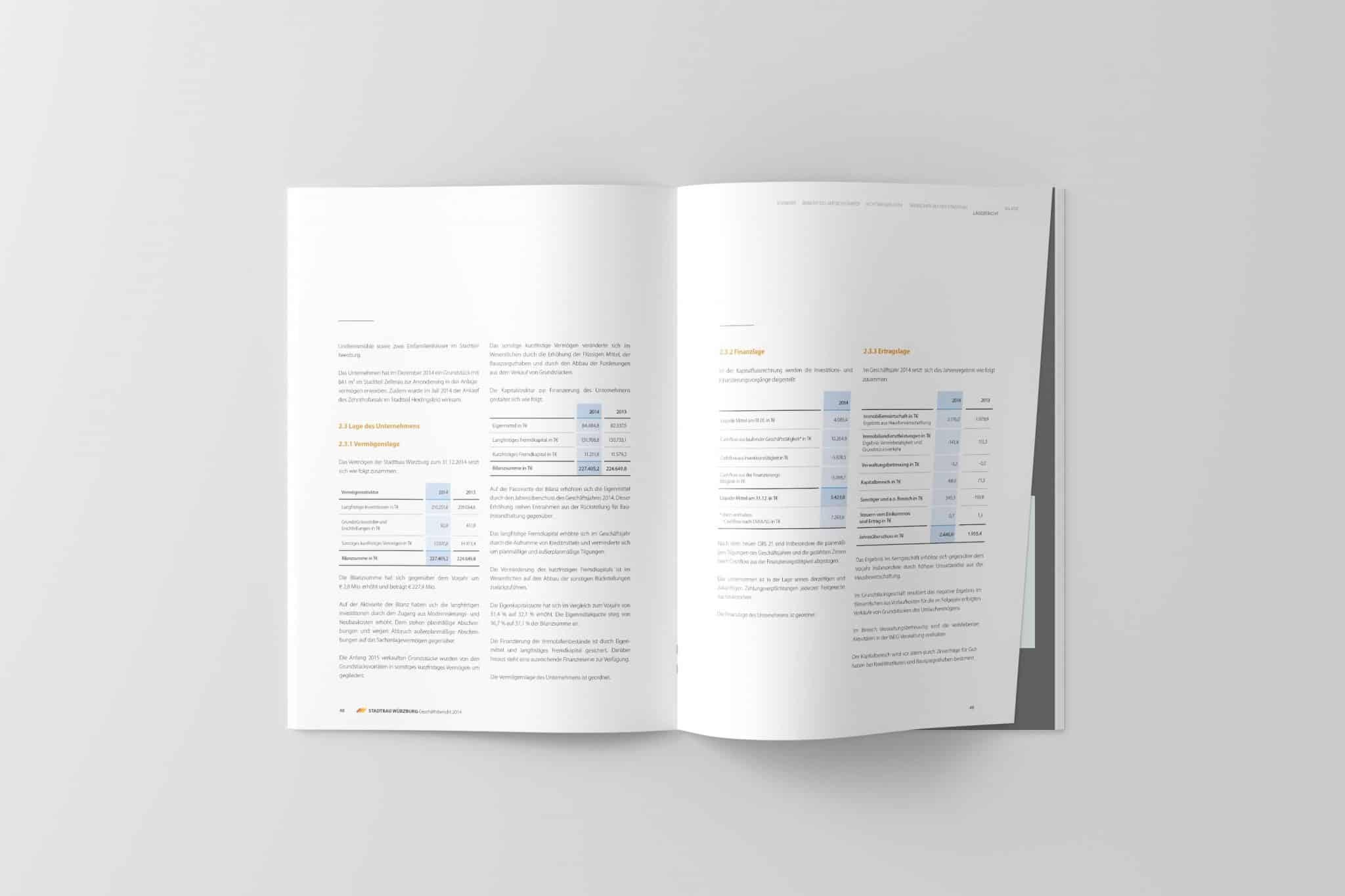 Doppelseite mit Zahlenteil 02 Jahresbericht Stadtbau 2014 Corporate Puplishing