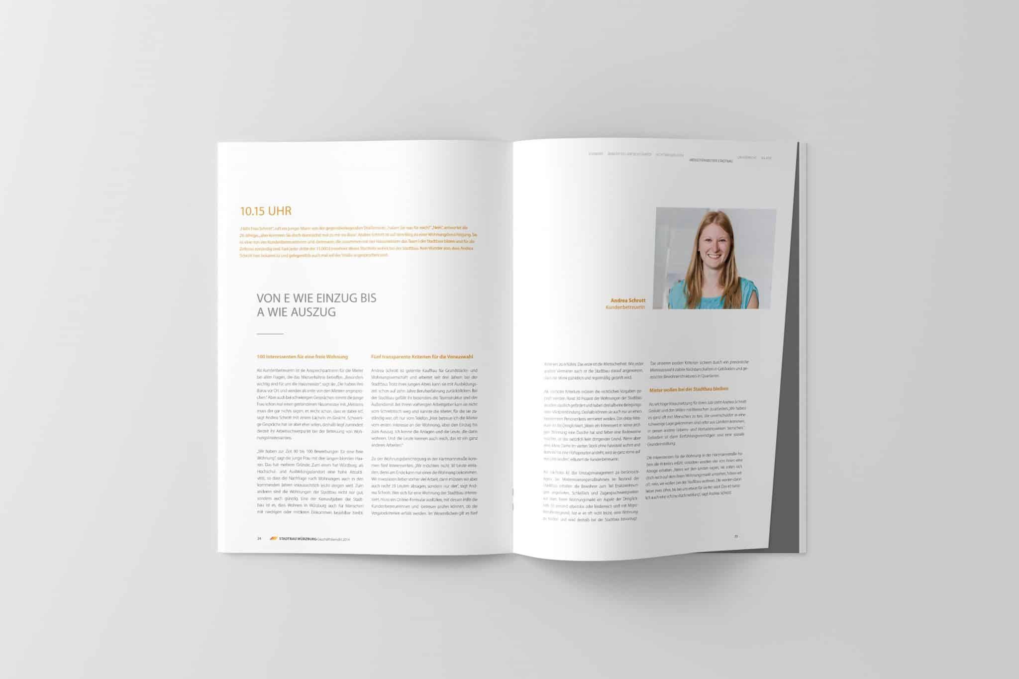 Doppelseite mit Porträt 02 Jahresbericht Stadtbau 2014 Corporate Puplishing