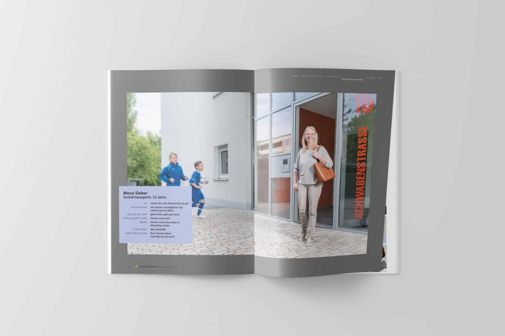 Doppelseite mit Porträt 01 Jahresbericht Stadtbau 2014 Corporate Puplishing