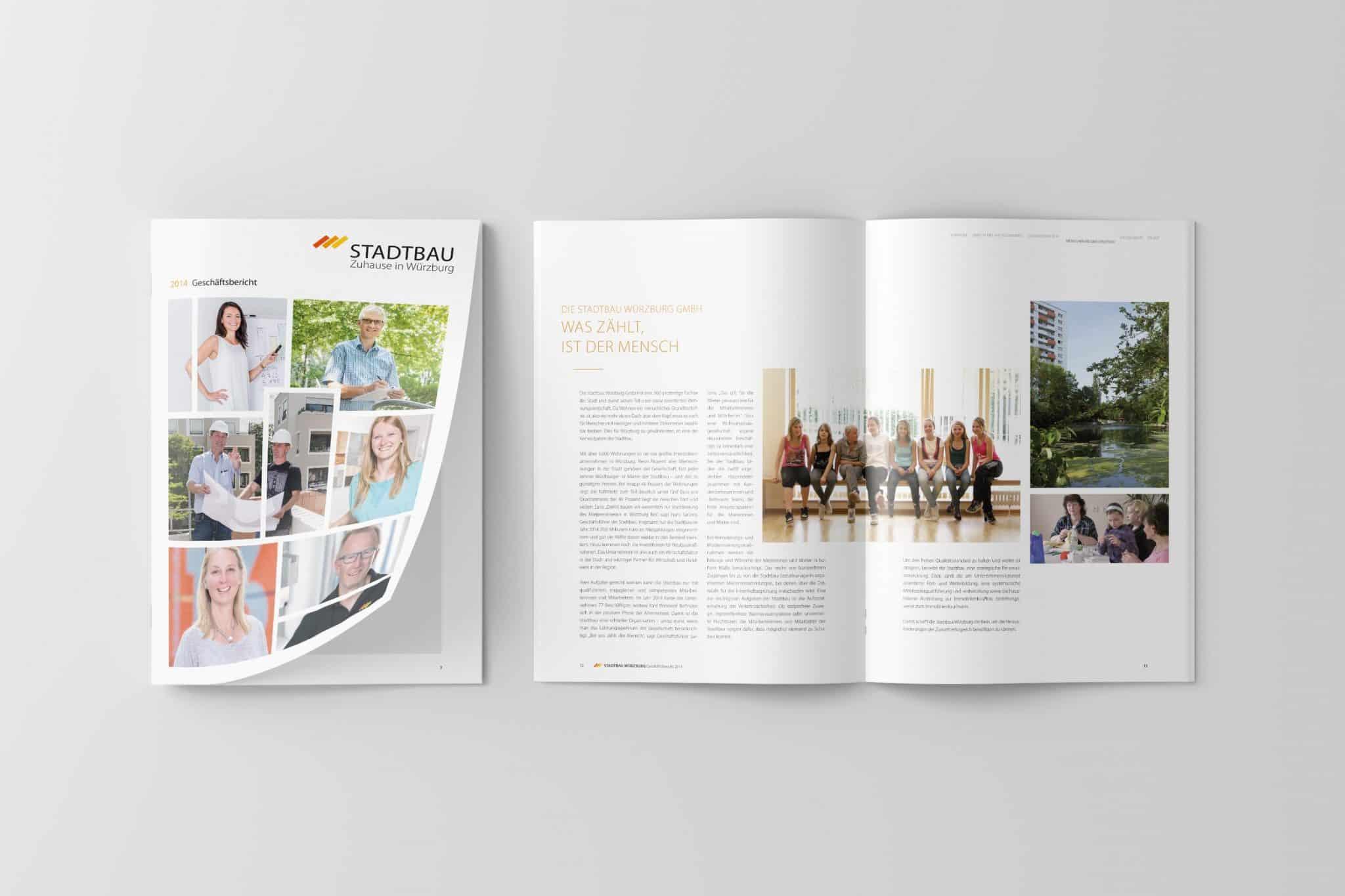 Doppelseite und Titel 01 Jahresbericht Stadtbau 2014 Corporate Puplishing