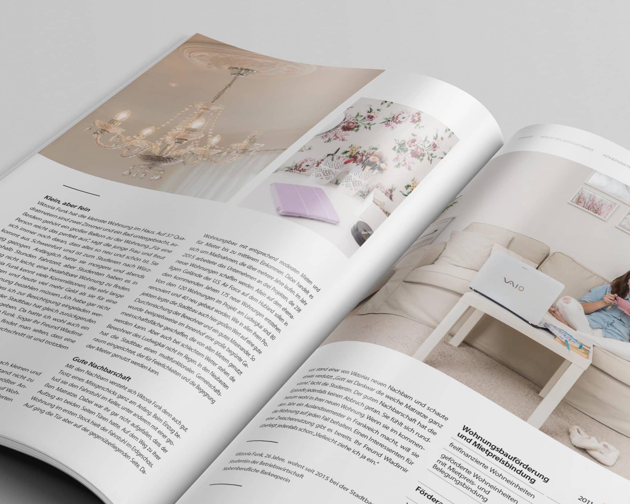 Doppelseite mit Imageteill 07 Jahresbericht Stadtbau 2014 Corporate Puplishing