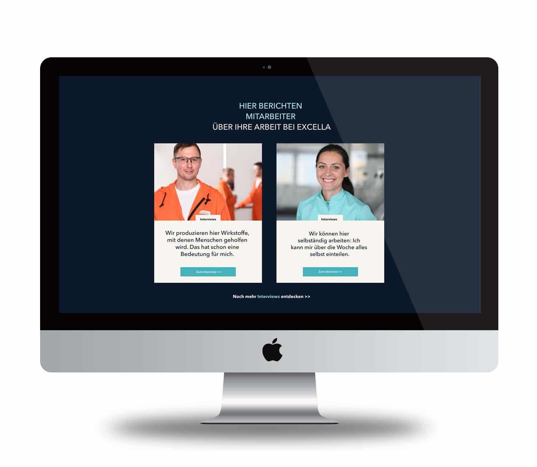 Ausschnitt Karriereseite, Employer Branding für Excella, Pharma, Webdesign, Social-Media, Recruiting