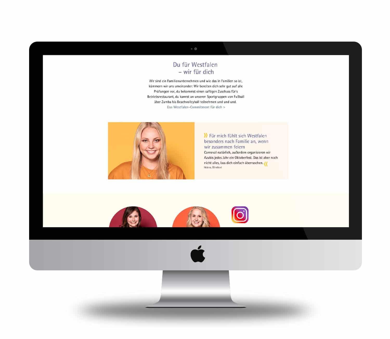 Ansicht Webdesign Zitat Helena Entwicklung Azubi-Kampagne für Westfalen Group, Videoclips, Social-Media, Werbung