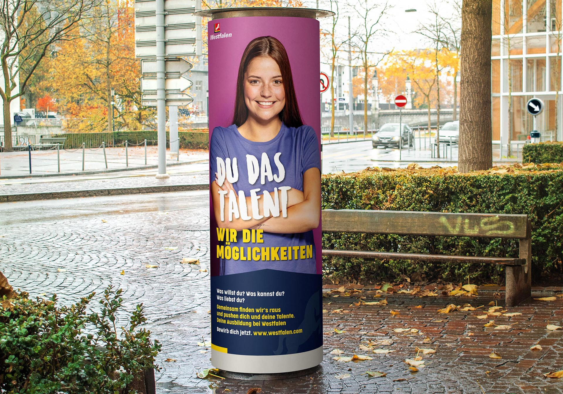 Plakat Litfaßsäule Entwicklung Azubi-Kampagne für Westfalen Group, Videoclips, Social-Media, Werbung